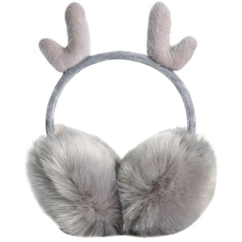 Christmas Women Earmuffs Winter Warmer Earmuffs Cute Windproof Antler Adjustable Earmuffs