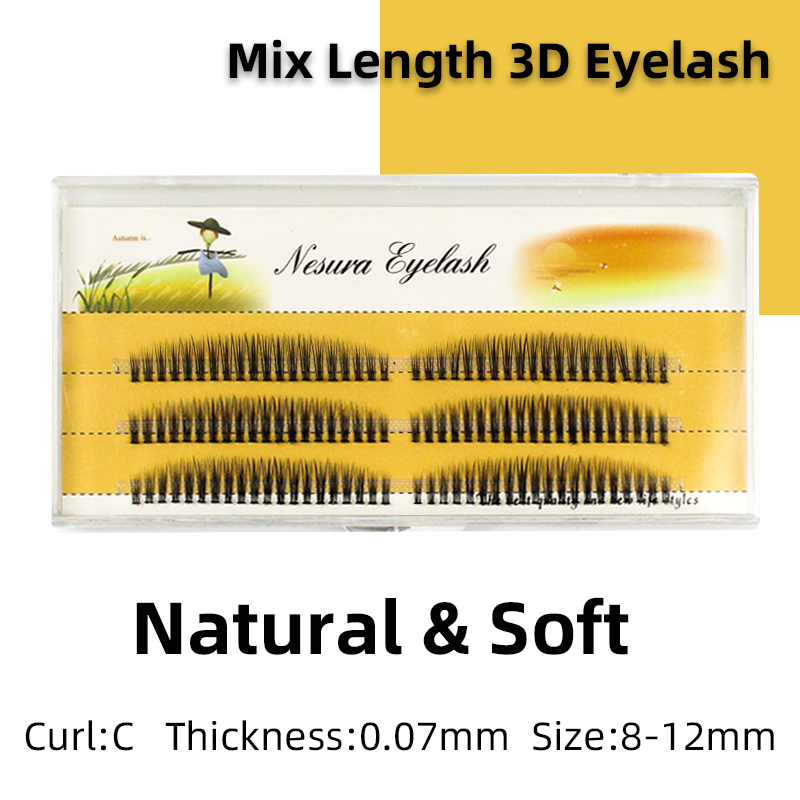Grafting World Rainbow False Eyelash 0.07 Personal Grafting Individual Eyelash Cluster Mix Length 120 Pcs Cilia