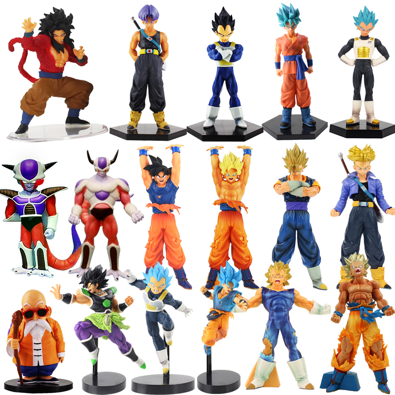 2pcs/lot Super Destroy God Beerus Son Goku Vegeta Trunks PVC Action Figure Dragon Ball Z DXF Collectible Model Doll Toys 6-25cm