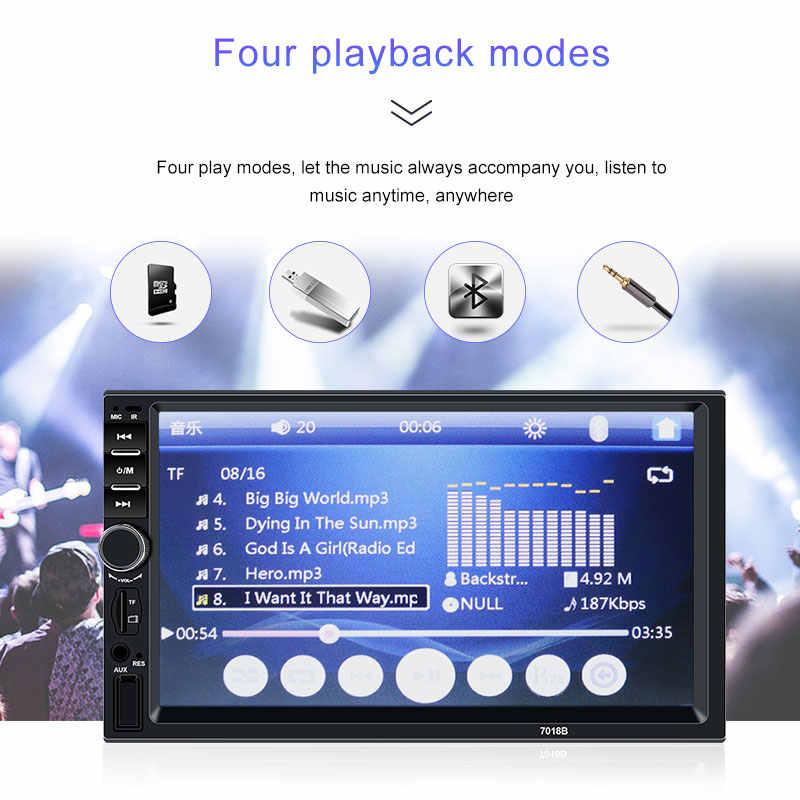 """Radio samochodowe 2 din magnetofon kasetowy radia samochodowego HD 7 """"7018B ekran dotykowy odbiornik Audio Bluetooth do samochodu widok z tyłu kamera MP5 Multimidia odtwarzacz"""
