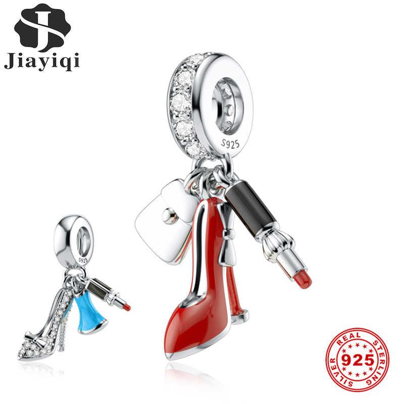 Jiayiqi גבוהה עקבים שפתון אמייל קסמי 925 כסף סטרלינג CZ חרוזים Fit נשים פנדורה קסמי כסף 925 מקורי DIY תכשיטים
