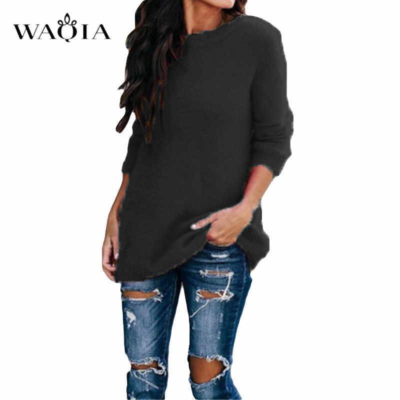สบายๆถักเสื้อกันหนาวผู้หญิงคอแขนยาว Pullovers หลวมเสื้อ 2019 ฤดูใบไม้ร่วงฤดูหนาวแฟชั่นผู้หญิงเสื้อกันหนาว