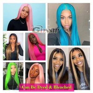 13X6 прямо Синтетические волосы на кружеве парик человеческих волос Синтетические волосы на кружеве al парик предварительно вырезанные 150% пл...