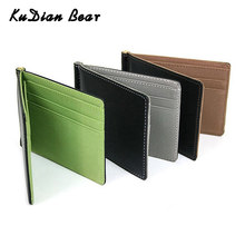 KUDIAN BEAR Minimalist Men Money Clip Mental with Card Case Slim Male Wallet Clip Money Purses Bifold Money Clamps BID009 PM49(China)