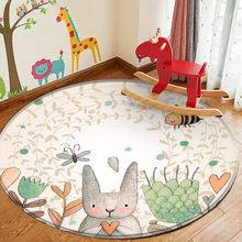 Baby Play Mat Round Children Carpet Simplicity Animal Bunny Bee Pattern Children Flannel Carpet Baby Hand Print Carpet