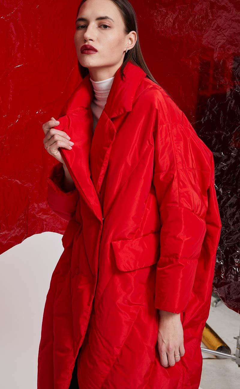 2019 Inverno Vermelho Mulheres Oversize jaqueta Grossa