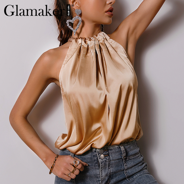 Glamaker Satin Ruffles casual  loose sleeveless sexy top Women elegant office ladies all-match pleated summer top new 2021 3