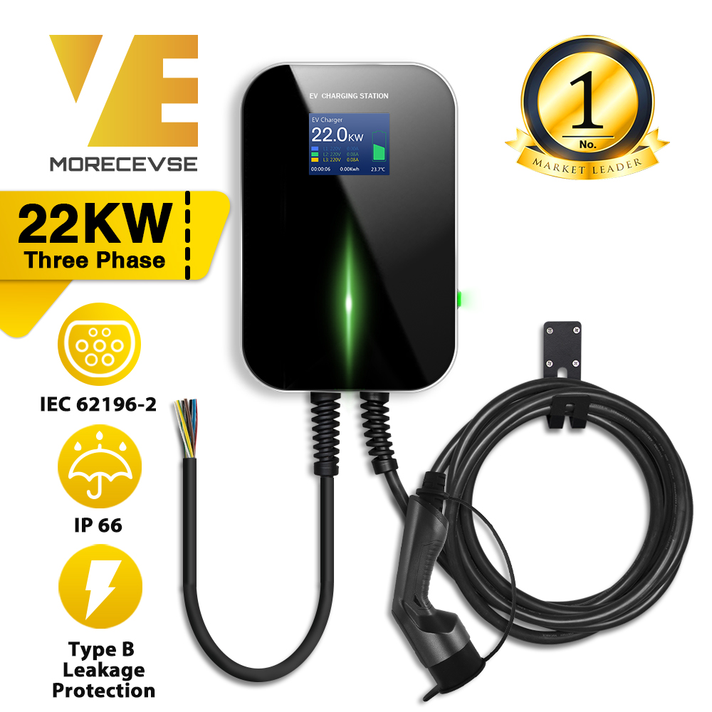 EV Charger Electric Vehicle Charging Station With Type 2 Cable 32A 3Phase IEC 62196-2 For Audi Mercedes-Benz MINI Cooper Smart
