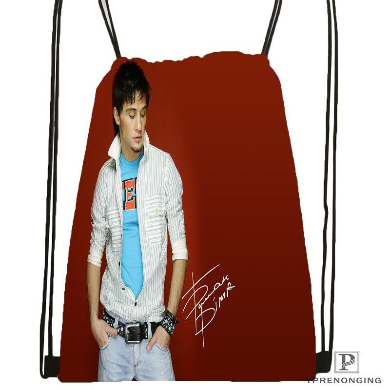Custom Dima Bilan Drawstring Backpack Bag Cute Daypack Kids Satchel (Black Back) 31x40cm#180531-02-10