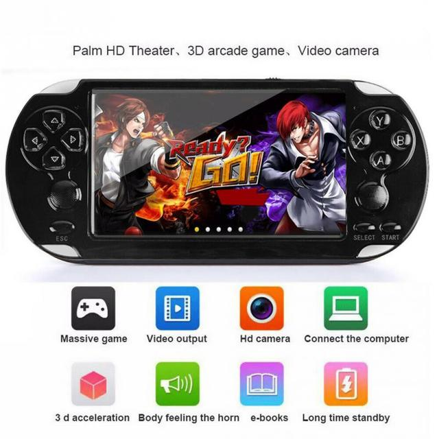 """כף יד קונסולת משחקי 4.2 """"5"""" LCD X6 X9 בתוספת נדנדה כפולה 8G רטרו וידאו MP5 TF כרטיס עבור GBA/ 1000 משחקים"""