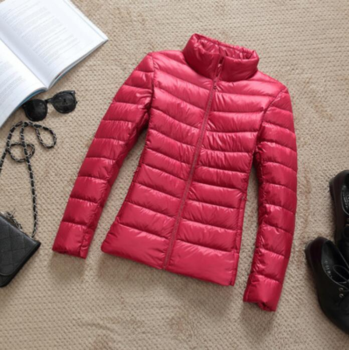Hot 2020 Autumn Winter Thin Down Jacket Women Slim Short Hooded Warm White Duck Down Coat Women Outerwear
