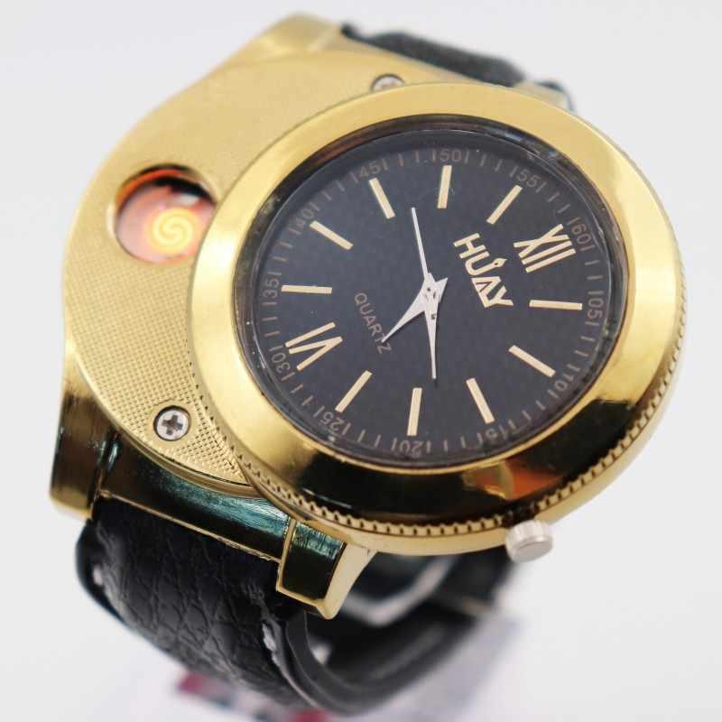 שעונים מצית USB טעינה אופנה חיצוני ספורט קוורץ שעון גברים של מזדמן Flameless מצית שעון F775