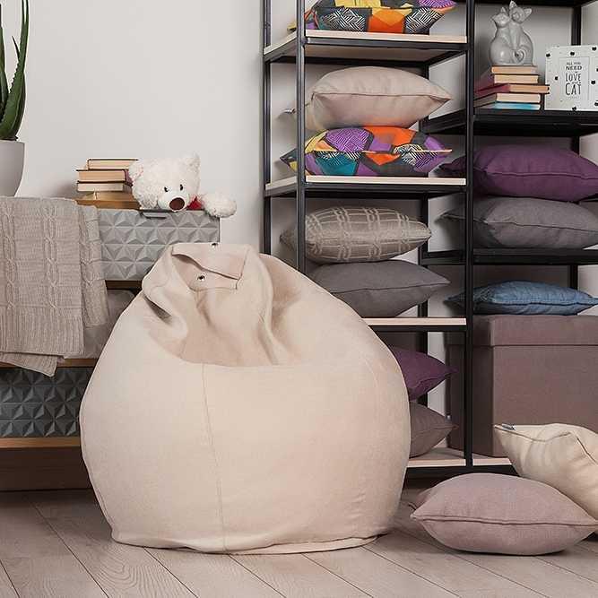 Кресло мешок с Наполнителем диван, татами, для гостиной, для детской Лима  Delicatex светло бежевый с наполнителем, для дома