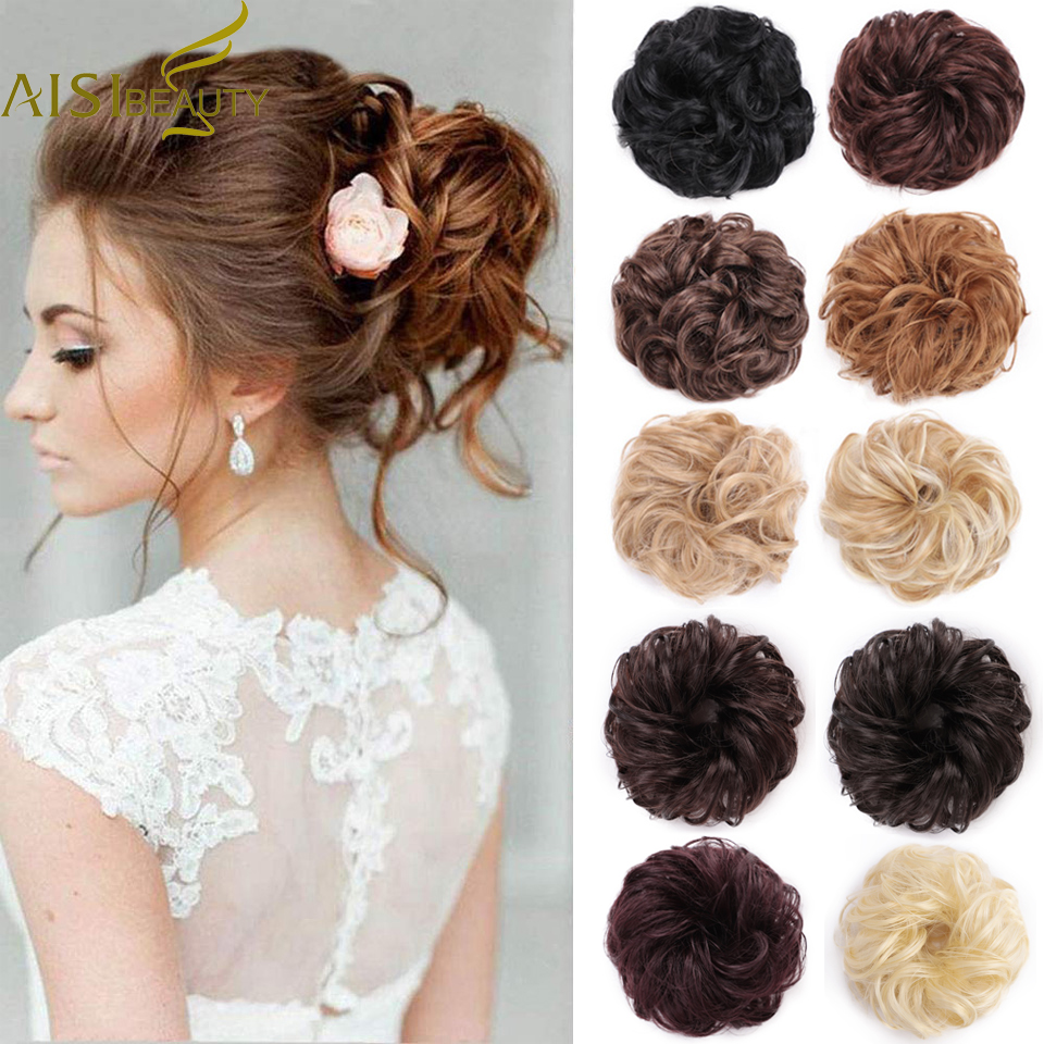 AISI BEAUTY Synthetic Chignons Hair Ribbon Ponytail Bundles Updo Elastic Scrunchie Extensions Hairpieces Donut Bun