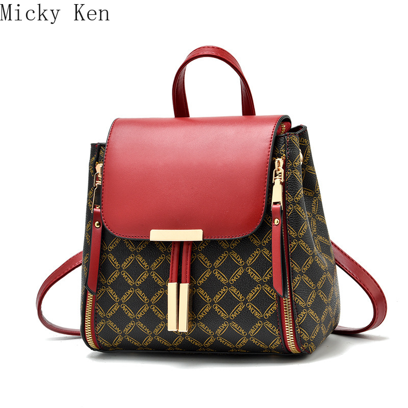 2019 New Women Backpack Leather School Bags For Teenager Girls Stone Sequined Female Preppy Style Small Backpack
