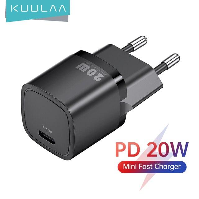 Зарядное устройство KUULAA USB Type C, для iPhone 12 Pro Max 11 Mini 8 Plus, 20 Вт 1