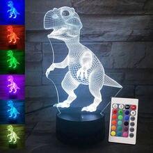 Светодиодная лампа в виде динозавра иллюзия 3d 7 цветов украшение