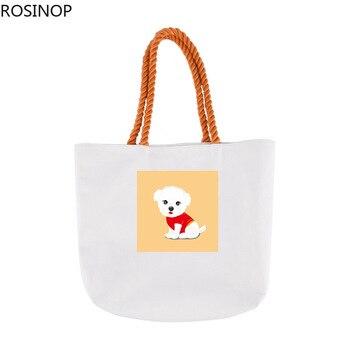 Rosinop foldable shopping bag women cute canvas tote bag designer tote cartoon cute animal flower print utility tote Fashion canvas ethnic print tote bag