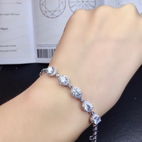 BOEYCJR 925 Silver 0.5ct 5mm D color VVS Moissanite Bracelet for Women Fine Jewelry Anniversary Gift New style