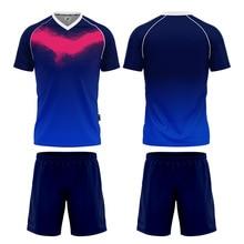 blank soccer jersey Dark Bule Soccer Jersey Set Adult Sportswear Diy Logo And NumberFootball Team Wear Soccer Uniforms