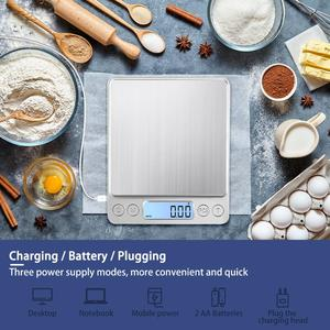 Image 2 - KUBEI Rechargeable Digital Kitchen Scale, 3kg 0.1g/1kg 0.01g Food Scale Jewelry Scale with Tray Multifunction Cooking Scale