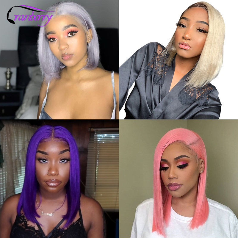 Cranberry Hair Remy Peruvian Wig 13X4 Short Human Hair Wigs Straight Lace Front Wig Bob Wig 613 Wig Purple Wig Grey Wig Pink Wig