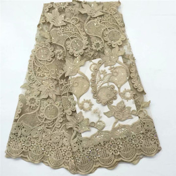 High Quality gold African Lace Fabric sequins beads French Net Embroidery Tulle Lace Fabric For Nigerian Wedding Party Dress