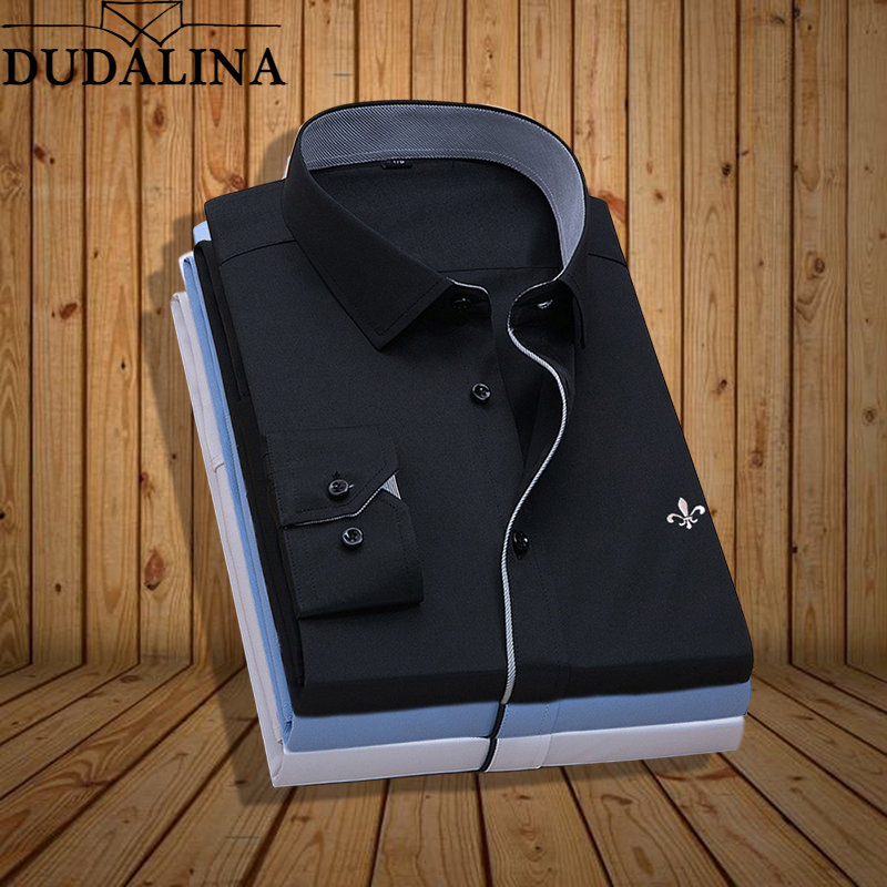 Plus Size Dudalina Stripe Embroidery Blusa Camisa Social Stripe Long Sleeve Slim Fit Shirt Men Clothing Male High Quality