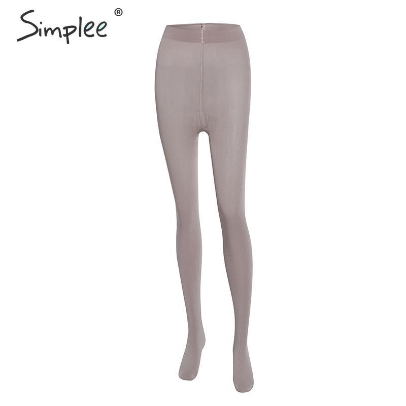 Simplee Winter Warm Women Leggings High Waist Bodycon Solid Soft Warm Leggings Casual Slim Fit Ladies Chic Bodycon Pantyhouse