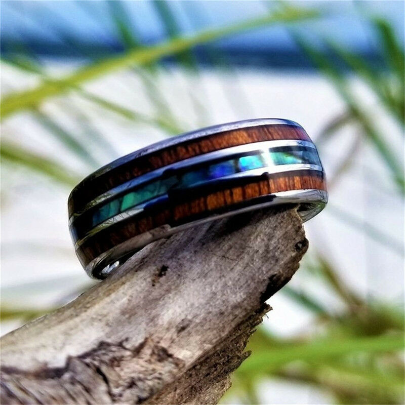 Fashion 8mm Tungsten Carbide Stainless Steel Ring Wood and Abalone Shell Punk Men Women Wedding Engagement Ring Fit Size 4 to 14|Wedding Bands|   - AliExpress