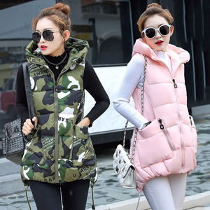 Image 2 - Winter Down Cotton Vest Women Red Gray Green Camouflage Hoodie Feather Waistcoat Long Paragraph Slim Warm Jacket colete feminino