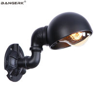 רטרו יחיד ראש מנורת קיר צינור מים לופט דקור LED קיר אור ברזל שחור E27 אדיסון פמוט קיר מקורה תאורה luminaire