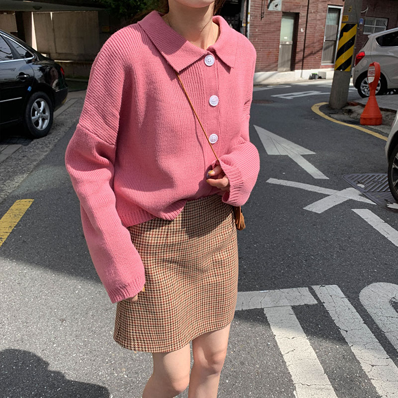 3 Colors Korean Style Women Autumn Turn Down Collar Cardigan Sweater Coat Female Long Sleeve Outwear Knitted Tops (X1073