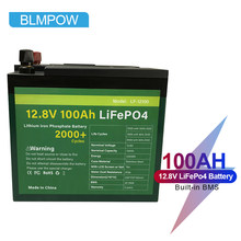 BLMPOW 12V Lifepo4 Battery Pack Cell 100AH Waterproof Lithium Ion Batteries With Built-in BMS for Inverter, Boat Motor No Tax