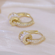 Korean Fashion 14K Real Gold Good Luck Implication Earring for Women High Quality Rotatable Bling Zirconia Clip Earring Brincos