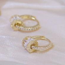 Mode coréenne 14K or réel bonne chance Implication boucle d'oreille pour les femmes de haute qualité rotatif Bling zircone Clip boucle d'oreille Brincos