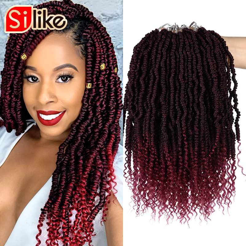 24 Roots/Pack Pre-looped Crochet  Spring Twist Hair 18 Inch Stretched Twists Braiding Hair Synthetic Hair For Braids
