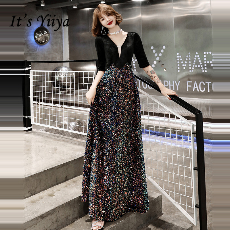 It's Yiiya Evening Dresses Elegant Sequins Shining Evening Dress V-neck Half Sleeve Party Gowns Plus Size Robe De Soiree LF043