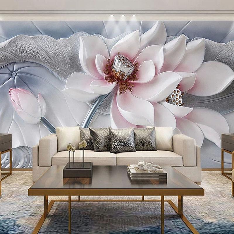 3D Wallpaper Modern Simple Beautiful Flowers Murals 3D Relief Sculpture Lotus Wall Paper Living Room Bedroom Home Decor Frescoes