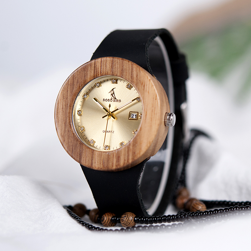 Luxury BOBO BIRD Complete Calendar Watch Women Zebra Wood Wristwatch Genuine Leather Band Wooden Watches Relogio Feminino C-B30