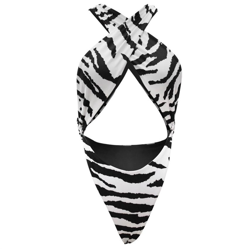 Reversivle Swimsuit Tanga One Piece Swimwear Tummy Cut Halter Monokini 2019 Tiger Skin Print Bathing Suit Beach Thong Badpak-2