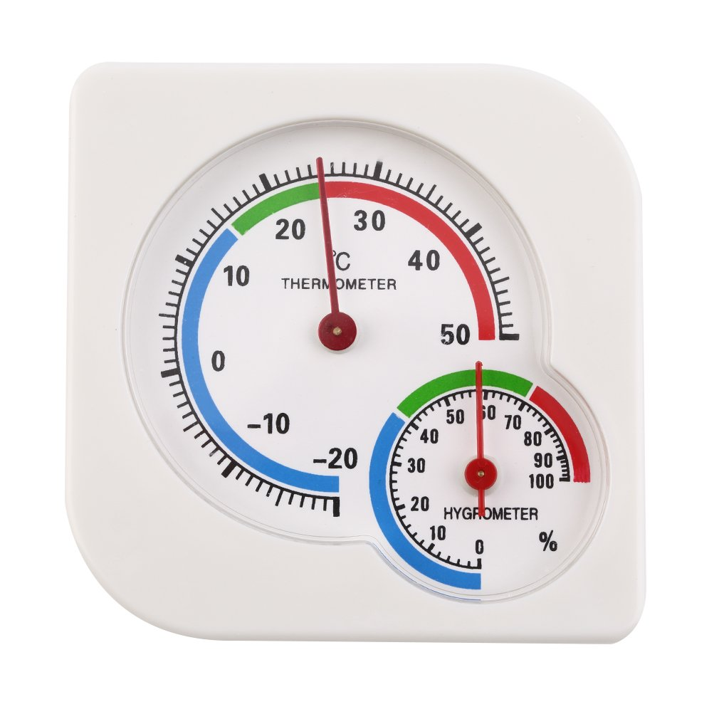 Indoor Outdoor Square Double Dial Thermometer Hygrometer Thermometer Humidity Meter Inductive Pointer -20C-50C Meter Gauge New