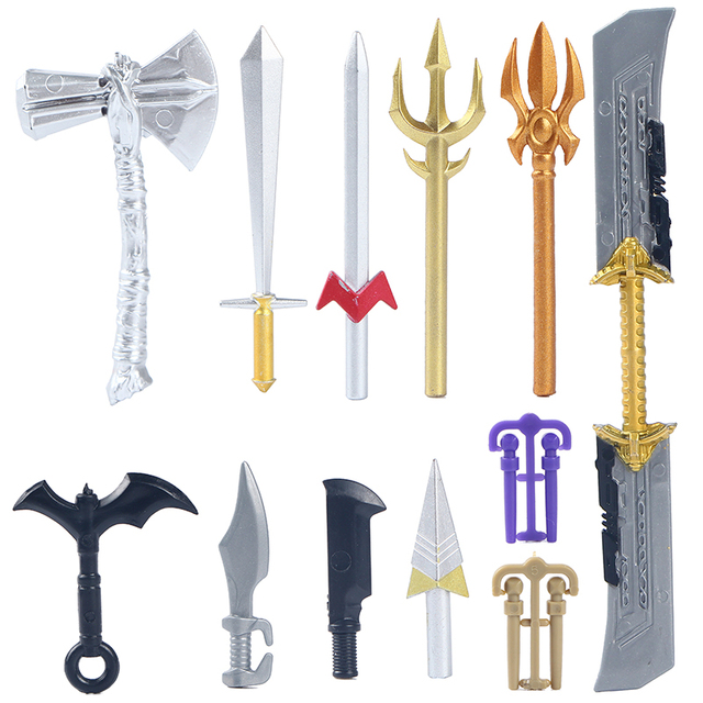 10Pcs Lot Weapon Marvel Avengers Batman Super Hero Action Figure Weapon Building Blocks Kids Educational Toys