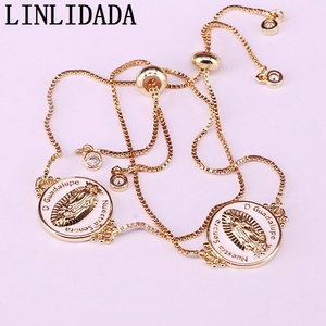 Image 3 - 12Pcs White color Enamel Round Connector Bracelets Adjustable Golden Jewelry