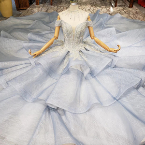Image 4 - BGW 2020 סקסי V צוואר כבוי כתף Teired כדור שמלת אורגנזה מוסלמי פורמליות ערב שמלות תחרה עד בחזרה חרוזים קריסטל נשים שמלה