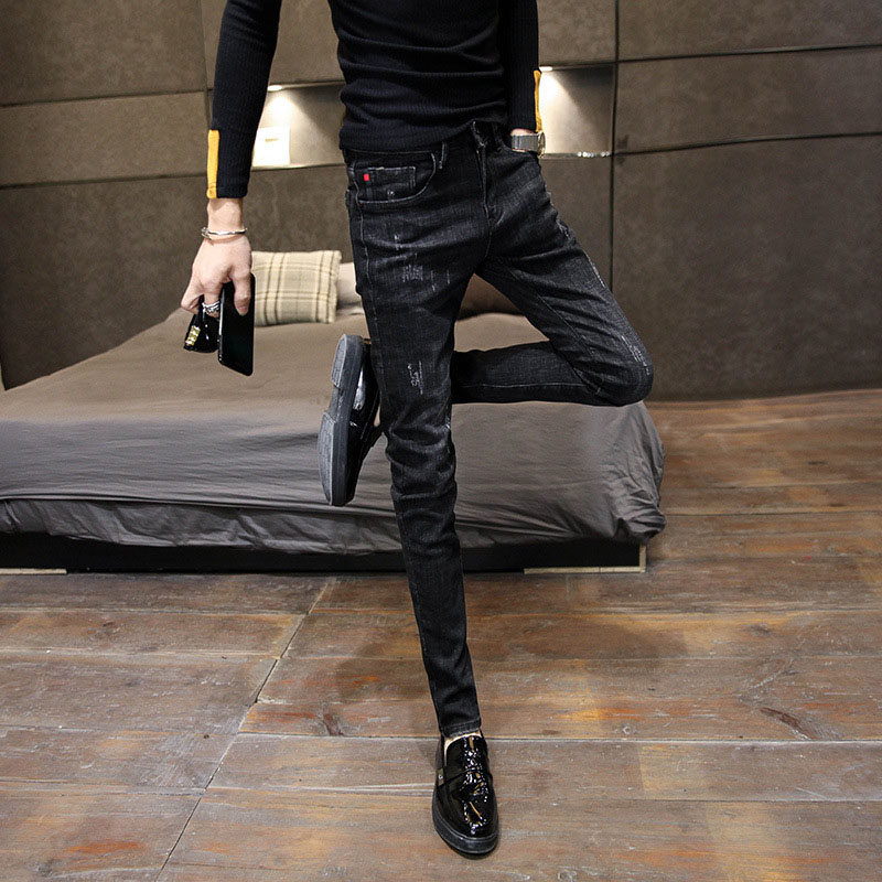 New 2019 Spring Autumn Denim Korean Simple Fashion Slim Black Trendy Feet Teenagers Students Jeans Men Pencil Pants 27-34