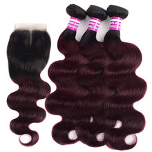Colored Ombre T1b Burgundy 3/4 Body Bundles With Closure Roots Remy Human Hair Extension 99J Brazilian Weave Deals