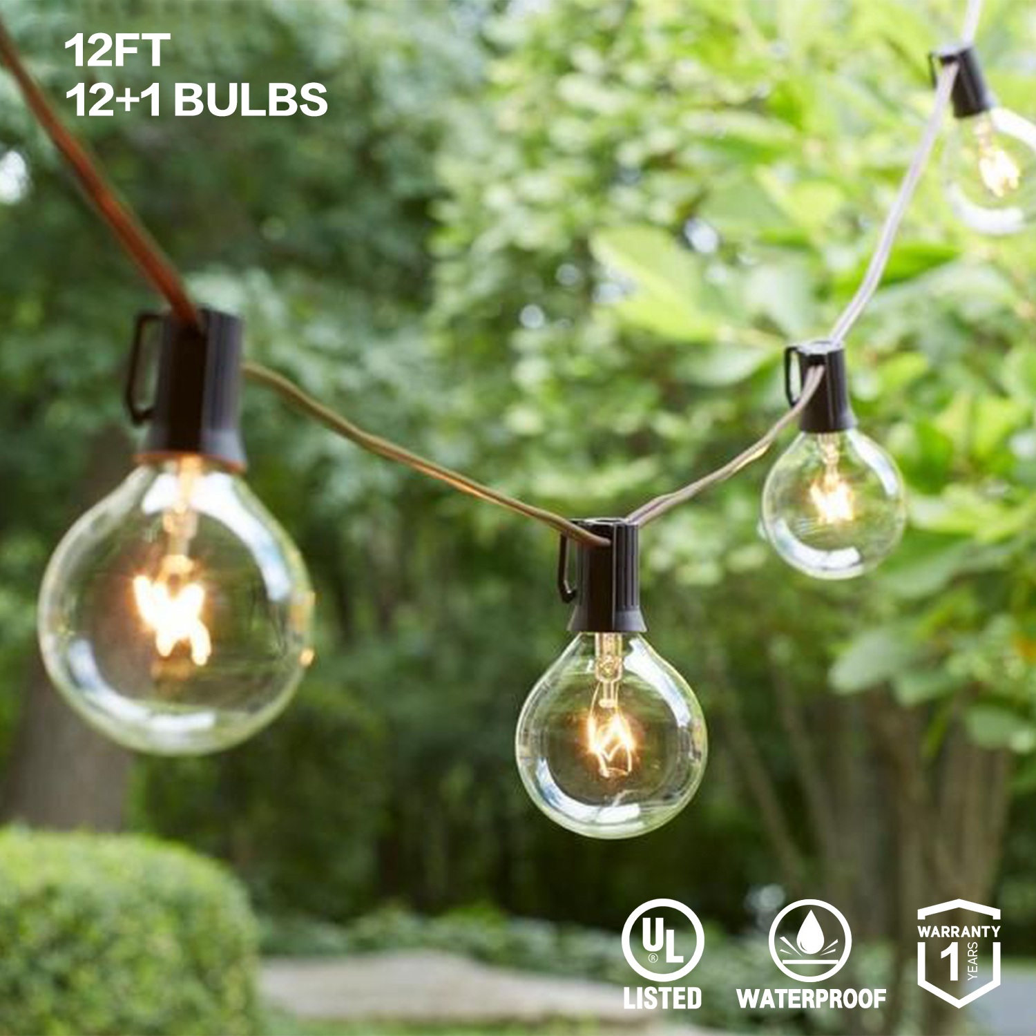 G40 Globe String Lights 12Ft 25Ft With Clear Ball Vintage Bulbs Holiday Lighting Indoor/Outdoor For Tents Patio Party EU/US