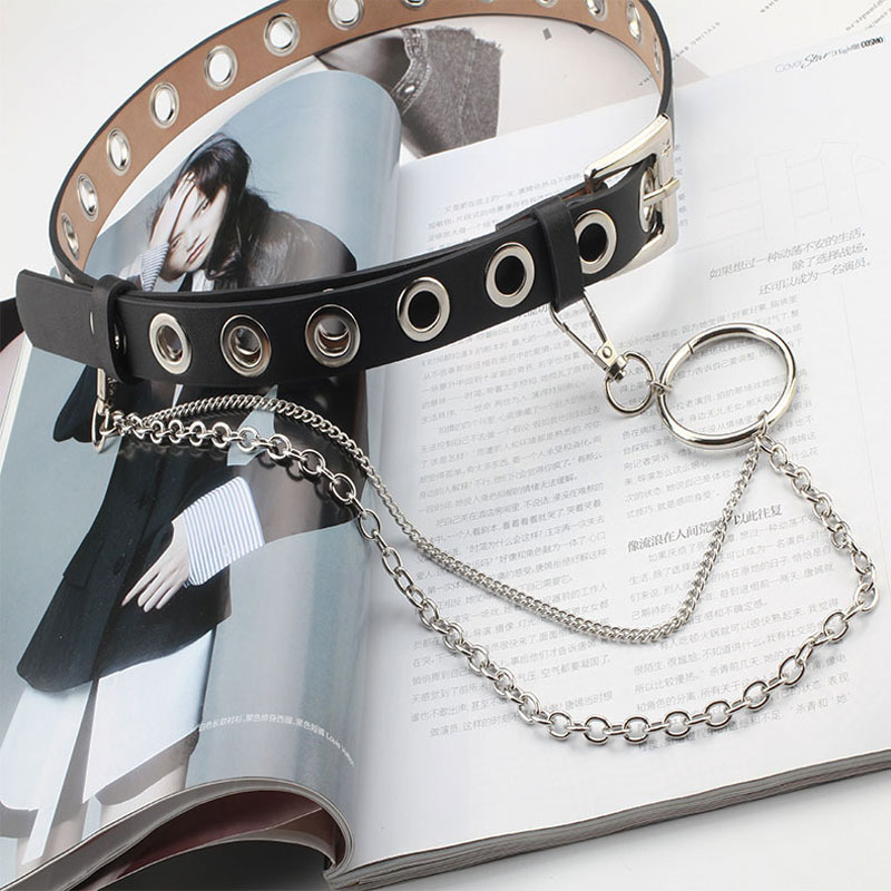 Fashion Ladies Harajuku Leather Designer Belts With Chain Luxury Unisex Aesthetic Grommet Belt Hollow Woman Belt For Jeans