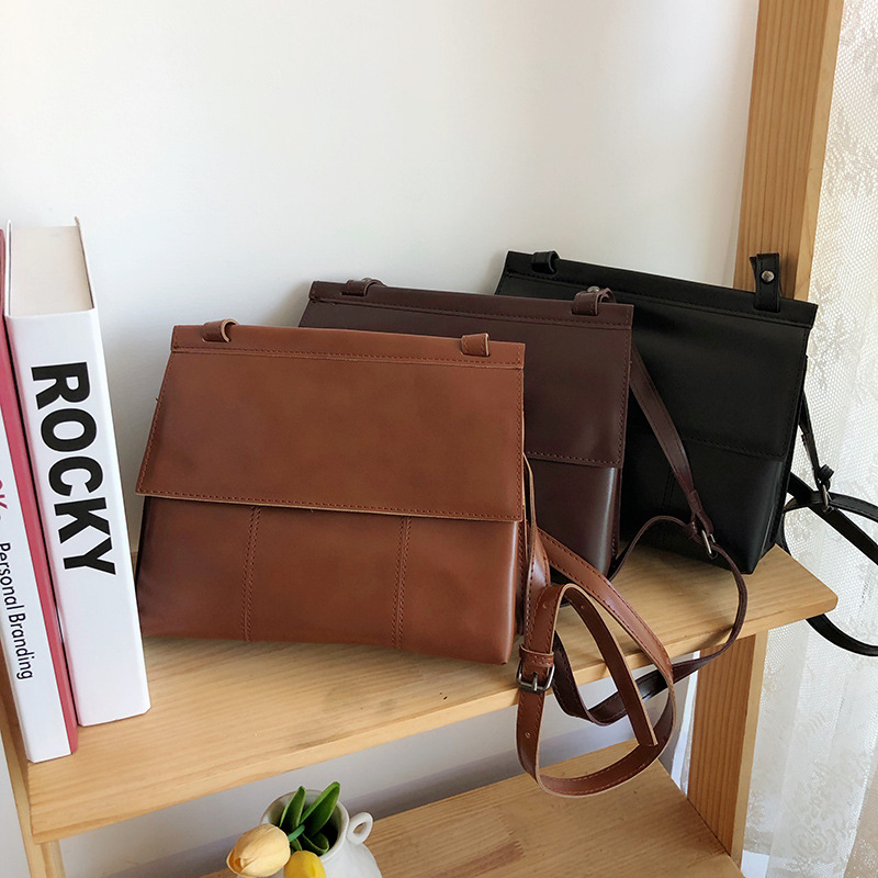 New Women Handbags Messenger Bag Fashion Shoulder Bag Simple Style Korea Crossbody Bags PU Office Lady Flap Large capacity Pack